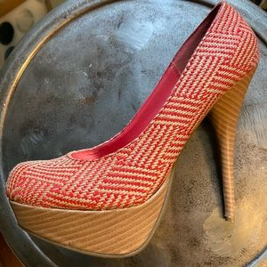 Bamboo, orange textured high heels